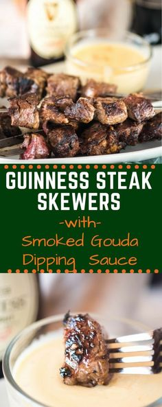 These Guinness Steak Skewers with Smoked Gouda Dipping Sauce are a fast and easy. These Guinness Steak Skewers with Smoked Gouda Dipping Sauce are a fast and easy appetizer that eve Steak Appetizers, Appetizer Recipes, Dinner Recipes, Irish Appetizers, Holiday Recipes, Dinner Ideas, Grilling Recipes, Beef Recipes, Cooking Recipes