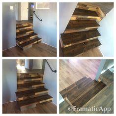 Rustic wood paneling and steps created custom design