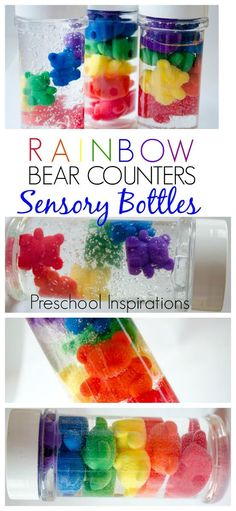 Rainbow Counting Bear Discovery Bottles Make rainbow bear counter sensory bottles. These are perfect for a rainbow theme and all ages. Rainbow Counting Bear Discovery Bottles Make rainbow bear counter sensory Rainbow Activities, Sensory Activities, Infant Activities, Color Activities, Sensory Rooms, Alphabet Activities, Sensory Bottles Preschool, Sensory Bags, Sensory Table
