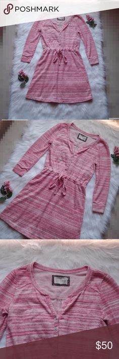 Anthro Saturday Sunday Pink Poppy Space Dye Dress Size XS.  60% Cotton 28% Polyester 12% Spandex.  Like new long sleeve dress with adjustable draw string waist. Open to Offers :)  *a0028 Anthropologie Dresses Long Sleeve