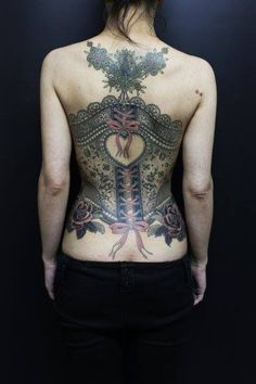 Obsessed with this corset tattoo by Camila Rocha of High Voltage Tattoo in LA. The detail is so intricate!