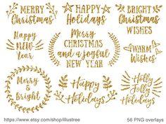 56 Gold Christmas overlays gold glitter Christmas clip art