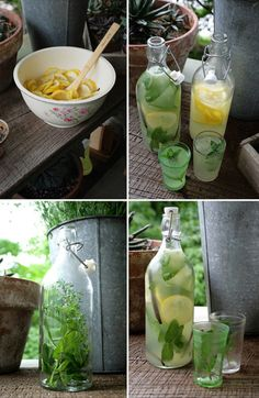 I love lemonade!!  Lemonade: 2 cups sugar  2 cups fresh lemon juice  1 gallon cold water  7 lemon, sliced skins,  Mint sprigs, for garnish.    Lemonade is a healthy substitute to junk foods, alcohol, and cigarettes.  this type of juice has a rejuvenating effect on your skin, which give it a radiant look.
