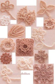 Коллекция мотивов для ирландского кружева из японского журнала Irish Crochet Lace | Вязание крючком | Постила