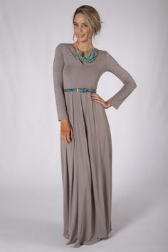 ~ Long Sleeve Maxi Dress - Latte w/ turquoise accents....love a winter maxi. $69.95. *