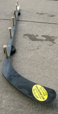 "Hockey Stick Wall Mount Coat Rack For our home one day in the ""man cave"" Hockey Room Decor, Hockey Bedroom, Carpenter Bee Trap, Hockey Mom, Hockey Stuff, Hockey Man Cave, Hockey Girlfriend, Hockey Girls, Field Hockey"