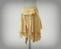 Custom Made to Order: Tattered Lace Fairy Woodland Skirt, Hippie, Boho, Gypsy, Funky, Upcycled Clothing