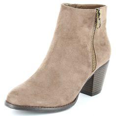 Boots style daim avec zip fantaisie                                                                                                                                              noir Femme