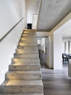 DIY Staircase Design Ideas - - 4 Times The Stair Decoration Would Make You Feel Amazed - Trend Crafts. Concrete Staircase, Staircase Design, Stone Stairs, Bungalow Haus Design, Modern House Design, Stairs Colours, Concrete Interiors, Stairs Architecture, Architecture Design