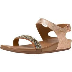 Fitflop Banda Roxy Sandals, Bronze (165 AUD) ❤ liked on Polyvore featuring shoes, sandals, low wedge sandals, strappy sandals, strap flat sandals, wedge sandals and slingback wedge sandals