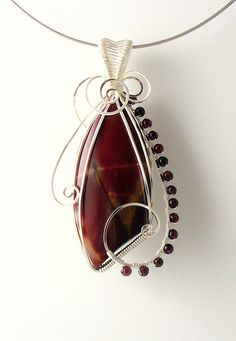 Mookaite and Garnet pendant - maybe  another re-pin but I just love the design and colors of this!!!