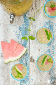 Lemon Balm Watermelon Green Iced Tea via Sober in the City: Top 10 Iced Teas for National Iced Tea Month Lemon Iced Tea Recipe, Iced Tea Recipes, Drink Recipes, Lemon Balm Recipes, Homemade Iced Tea, Sweet Watermelon, Sweet Tea, Summer Drinks, Food Inspiration