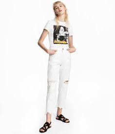 Slim High Cropped Jeans   White denim   Women   H&M US