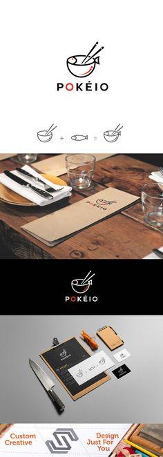 Simple creative Logo Poke Fish   Tags #fish #pokefish #food #restoraunt #brand #brandindentity #branding #chineese #chopsticks mockup presentation asian