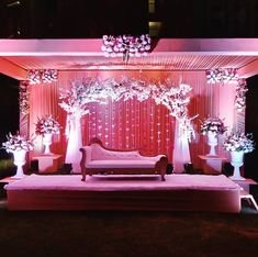 Source by . Reception Stage Decor, Wedding Stage Backdrop, Wedding Draping, Wedding Hall Decorations, Wedding Stage Design, Marriage Decoration, Wedding Mandap, Stage Backdrops, Party Backdrops