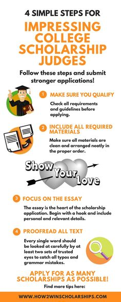 4 Simple Steps to Impress College Scholarship Judges Learning how to impress college scholarship judges is just plain smart. Use these tips and win more money for college by submitting stronger applications. – College Scholarships Tips Financial Aid For College, College Planning, Education College, Higher Education, College Tips, College Counseling, College Ready, College Checklist, Organisation