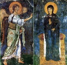 The Annunciation to the Virgin frescoe, Mirozhsky Monastery, Russia