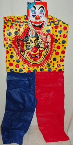 Vintage 1973 Ben Cooper Vinyl Clown Costume and Mask with Box 126 Size Small 6-8
