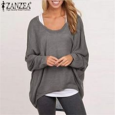 0af34b8938d ZANZEA Women T-shirt 2018 Spring Long Batwing Sleeve Casual Loose Tops  Solid Tee Blusa