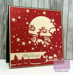 Over the Rooftops - @crafterscomp #Christmas create-a-card die and stamps inked w/ @imaginecrafts