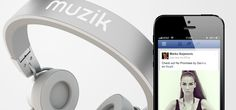 Muzik headphones feature a button that lets users immediately share the song they're listening to with Facebook friends