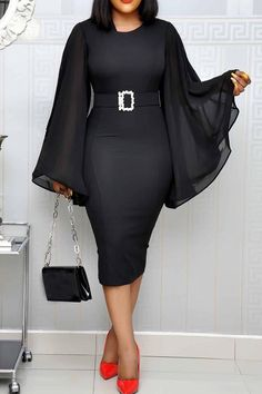 Long Sleeve Round Neck Patchwork Plain Women's Bodycon Dress Source by sekoakoa dresses classy African Wear Dresses, Latest African Fashion Dresses, African Print Fashion, Women's Fashion Dresses, Dresses Dresses, Latest Fashion, Formal Dresses, Wedding Dresses, Classy Work Outfits