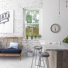 Whitewashed industrial-style kitchen | White kitchen design ideas | housetohome.co.uk
