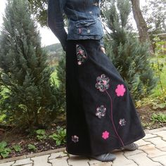 maxi manšestrová v černém I. Waist Skirt, High Waisted Skirt, Tie Dye Skirt, Sewing, Skirts, Fashion, Moda, High Waist Skirt, Couture