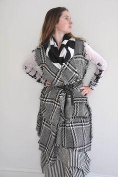 Nomad Vest in 100% Plaid Wool, Black Zigzag