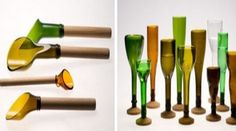 The collected and useless wine bottles are given a new form by Laurence Brabant. The bottles are cut and chamfered into glasses and other accessories.