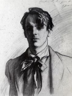"John Singer Sargent ~ William Butler Yeats, 1908 (charcoal) ""I wonder anybody does anything at Oxford but dream and remember, the place is so beautiful. One almost expects the people to sing instead of speaking. It is almost like an opera."""