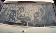 Amazing Drawings on Dusty Cars