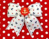 Vintage Sailor Doll Anchors and Stars Hair Bow - Ivory