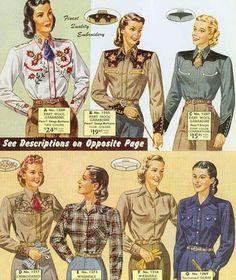 la mode chemise de cowboy féminin les années 50 60