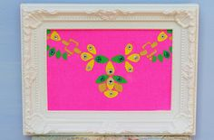 Neon Statement Necklace Painting on Canvas with Jewels
