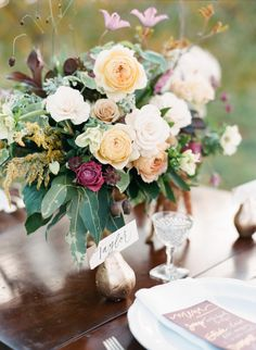 Fall harvest inspired floral centerpiece: http://www.stylemepretty.com/2015/11/26/fall-harvest-wedding-inspiration/ | Photography: Ruth Eileen - http://rutheileenphotography.com/