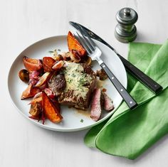 Steak with Roasted Vegetables and Mustard Pan Sauce  - Delish.com
