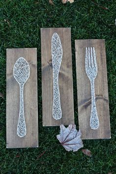Fork Knife and Spoon String Art  Made to Order by GirlwithGlue #artsandcrafts
