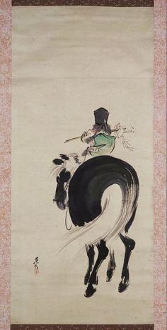 Monkey on a Horse. Shibata Zeshin. Japanese hanging scroll. Nineteenth century. Tokyo National Museum. 意馬心猿図 Submit 画像番号:C0012304 列品番号:A-1078 作者:柴田是真 時代:明治時代