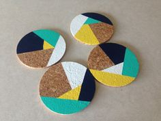 Navy Yellow Teal White Abstract 4 Round Cork by CorkCoasters