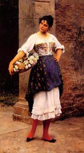 Venetian Flower Seller - (Eugene De Blaas)