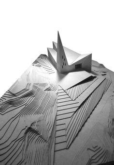 Concept model of Knarvik Community Church in Lindas, Norway by Reiulf Ramstad Arkitekter