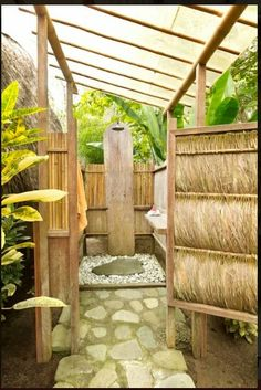 Serene outdoor shower.