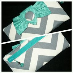 Wallet with bows  Womens  Ladies  Gray Chevron by CreationsByTiana, $44.00