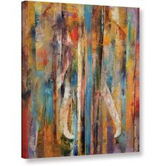 Michael Creese Elephant Gallery-wrapped Canvas, Size: 36 x 48, Orange