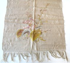 Silk embroidered antique piano scarf table runner scarf floral