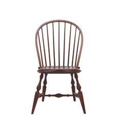 """Warren Bow Back Side Chair from 680.00 Our Widest Bow Back Side Chair Signature WCW Hand-Sculpted Seat Tapered Spindles Shown:  Maple Seat / Cherry Stain  Overall:  22""""W  x  """"D  x  38.5""""H   •   Seat:  18""""W  x  """"D  x  17.5""""H"""