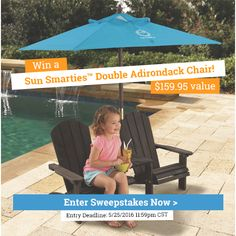 ☀ Summer is almost upon us & we want you to be ready! Our latest sweeps is a chance to win one of our exclusive Sun Smarties Double Adirondacks! Comment below with your favorite leisure activities to do with kids during the summer & share with friends! Enter to win here: http://bit.ly/1SS6SIE ☀