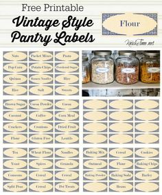 Vintage Style Pantry Labels from KnickofTime.net