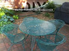 Metal Patio Furniture Makeover  Wire brush, sandpaper, rust protection paint, spray paint, tarp